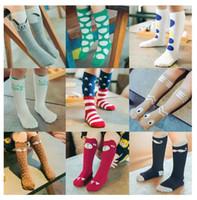 Wholesale Totoro High Socks - Unisex cartoon Animal leg warmers 2017 Fashion baby girls & boys knee high Totoro Panda Fox socks kids cute Striped Knee Pad sock