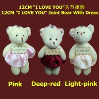 "Wholesale Christmas Mixed Teddy Bear - Wholesale Mixed Color 12pcs lot 12cm Cartoon Plush Teddy Bear Joint Bear With ""I LOVE YOU"" Dress For Key Phone Bag Stuffed Dolls Toys"