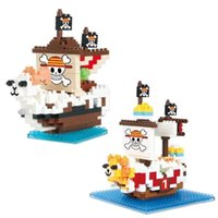 Wholesale One Piece Sunny Pirate - ONE PIECE Pirate Ship Going Merry and Thousand Sunny chariot QCF building blocks model toys Present gift for boy