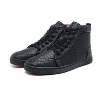 Wholesale Winter Casual Shoes For Women - 9 colors snake leather winter high top red bottom shoes for man and women unisex luxury brand Boot casual shoes size:36-46