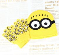 Wholesale Knitted Minion Caps - 2pcs set Hot Sale Children's Winter Cartoon Minions Glove Hat Sets Fashion Kids Baby Warm Knitted Caps Gloves