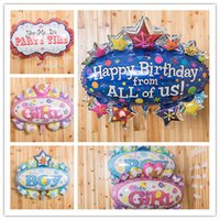 Wholesale Discount Party Supply Wholesale - Happy Birthday Balloon Party Decoration Foil Balloon Toys Baby Boys HOT Birthday Gift Favors Discount SD472