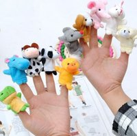 Wholesale Ems Baby - 600pcs lot DHL EMS finger doll animal Puppets Kids Baby Cute Play Story time Velvet Plush Toys 0587