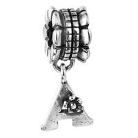 Wholesale Dangle Charm Alphabet - 100% 925 Sterling Silver Beads Fit Pandora Charms Bracelet DIY Brand Fashion Jewelry Alphabet Dangle A 001
