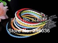 Wholesale Good Luck Bracelets For Women - 100pcs Silver Clasp Lobster Clasp Leather Chain Charm Leather Good Luck Bracelet &Bangle Jewelry For Women beads Dress Brand 20cm B678
