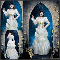 Wholesale Pleated Bustle Wedding Dress - 2015 vintage Steampunk Wedding Gown Elegant in Ivory and Gold Silk Victorian Bustle Dress high neck long sleeve appliques Victorian dresses