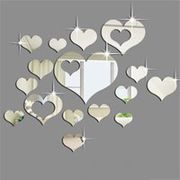 15PCS 3D Plastic DIY Removable Sticker Heart Art Decor Espelho Wall Stickers Living Room Bedroom Decoração de casa Papel de parede Poster