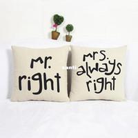 миссис подушка оптовых-Популярные смешные Mr Right Mrs Al ways Right Print Blend хлопок белье наволочка кровать диван чехлы для подушки аксессуары для дома