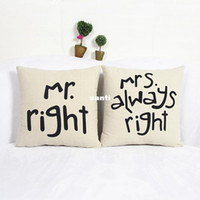 Wholesale Funny Pillow Cases - Popular Funny Mr Right Mrs Al ways Right Print Blend Cotton Linen Pillow Case Bed Sofa Cushion Cover Home Accessories