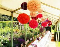 Wholesale Artificial Tissues - Wholesale-100pcs Wedding Decoration Mariage Artificial Flowers Supplies Tissue Paper Pom Poms Party Festival Paper Flowers 5 Sizes Mixed
