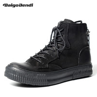 Brand New Vollnarbenleder Mann Stiefel Mode Jungen Schwarz Lace up Runde Kappe Martin Ridding Stiefel Casual Oxfords Winter Schuhe