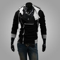 Wholesale Stylish Costumes Men - New arrival Men's Hoodies Sweatshirt Slim Stylish Jacket Cosplay Costume Fashion Men Assassins Creed Jacket Korean