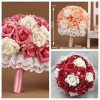 Wholesale Silk Champagne Bridal Bouquets - New Fashion PE Flowers Bridal Bouquet Wedding Accessories Brooch Crystal Pearls Red Champagne Bridesmaid Wedding Bouquet Holding Flowers