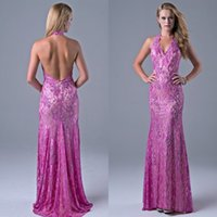 Wholesale Newest Sexy Beaded Halter Neckline - Newest Lace Long A-line Halter Neckline Aapplique Backless Prom Dress Hand Beading Lilac Lace Party Gown