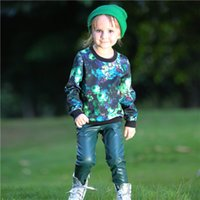 Wholesale Girls Leather Pants For Kids - Pettigirl Retail Baby Girls Clothing Set Floral Child Outfits With Print Pattern Top And Leather Pants For Fall Kids Clothing CS80728-33F