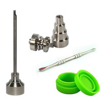 Wholesale titanium domeless water bong resale online - Bong Tool Set mm Domeless Gr2 Titanium Nail Carb Cap Dabber Slicone Jar Glass Bong Smoking Water Pipes