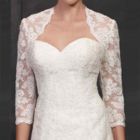 Wholesale Mini Bridal Bolero Jacket - 2015 Vintage Bolero Bridal Wraps and Jackets Lace Appliques Three Quarter Illusion Sleeves Wedding Mini Coat Custom Made