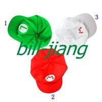 Wholesale Wholesale Red Mario Hats - Wholesale-Super Mario Bros Anime Cosplay Hat Mario Luigi Cap 1pc  lots