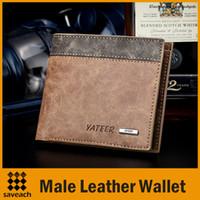 erkek deri şortları toptan satış-2015 Erkek Deri Bağbozumu cüzdan için Rahat Kısa tasarımcı Kart tutucu cep Moda Çanta cüzdan Erkekler Boys ücretsiz kargo