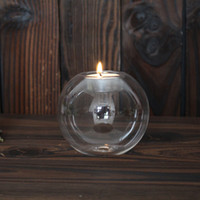 Wholesale Wholesale Bowl Candle Holder - Transparent Candlers Wedding Bar Party Home Decor Classic Crystal Glass Candle Holder Creative Circular Candlestick 3 9md3 C R
