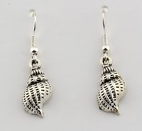 Wholesale copper earrings hooks online - Hot pair Antique silver Single sided conch Charms Earrings With Fish hook Ear Wire X mm