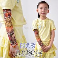 Wholesale Cheapest Tattoo - Cheap Children Carton Tattoo Sleeves Kids Tattoo Arm Sleeves Fake Tattoo Sleeves Body Art 200PCS Free shipping
