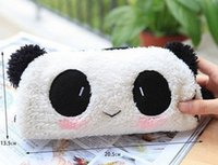 Wholesale Wholesale Office Beauty - 5PCS Kawaii Plush Fluffy Panda Pen Pencil BAG Pouch Case Packs; Pendant Cosmetic & Beauty Pouch Bag Case Coin Purse Wallet BAG
