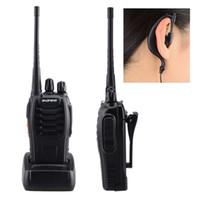Wholesale Longest Range Walkie Talkie Vhf - Wholesale-2 PCS Radio Walkie Talkie Pair EU Plug 400-470MHz 16CH UHF VHF FM Transceiver Long Communication Range Interphone With Headset