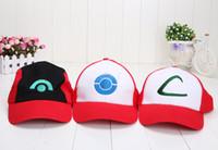 kül kıyafeti toptan satış-3 renkler YENI KÜL KETCHUM KOSTÜM COSPLAY MESH CAP HAT Sun ASH beyzbol şapkası