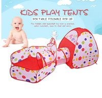 Wholesale Pool Game Play - Pool Tube pool 3pcs set Pop up Toy Tents Ocean Ball Playing Tent Secret House Baby Game Play 3 in 1 Tent KKA3277