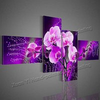 Wholesale Modern Abstract Acrylic Painting - 4 Piece Wall Art Modern Abstract Acrylic Flower Purple Orchid Oil Painting On Canvas Paintings Modern PicturesHome Decor