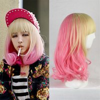 Wholesale Sailor Moon Wigs - cheap two tone wig short bob wigs with bangs pink beige cosplay wig curly heat resistant synthetic wigs sailor moon pear head