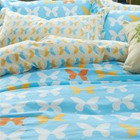 Wholesale Butterfly Twin Comforter - Wholesale-Reversiable Butterfly Bedclothes Bedding Set King Size Queen Comforter Set without Filling 100% Cotton
