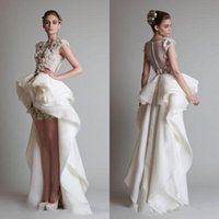 Wholesale silk back wedding dress for sale - Group buy 2017 Krikor Jabotian Sexy Elegant High Low Silk Like Satin Wedding Dresses Sheer Covered Button Back Sweep Train Lace Bridal Gowns Appliques