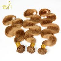 Wholesale Dark Auburn Wavy Hair Extensions - Grade 8A Honey Blonde Malaysian Hair Body Wave Wavy 100% Human Hair Weave Bundles Color 27# Malaysian Virgin Remy Hair Extension Tangle Free
