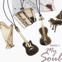 Wholesale Cute Gold Metal Bookmark Fashion Musial Piano Guitar Bookmark for Book Creative Gift Korean Stationery A5