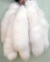 "Wholesale Genuine Fox Tail Keychain - Wholesale-Fashion 15""genuine Red Fox Silver Fox Tail Keychain Fur Tassel Bag Tag Charm Keyring (White)"