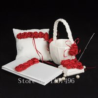 Wholesale Silk Wedding Guest Book - Wholesale-Wedding Ceremony Accessories Rose Silk Basket Guest Book Pen Set Ring Pillow Free Shipping