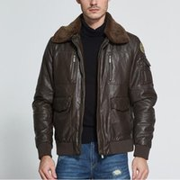 Wholesale Air Force Leather Bomber Jacket - Wholesale- Air Force Retro Vintage Classic Winter Quilted Flight Pilot Leather Jacket Men Bomber Coat With Fur Collar Dark Brown