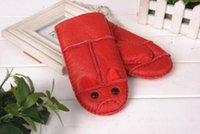 Wholesale Leather Winter Mitts - Kid's Gloves,Fur leather Ski Gloves sheepskin fur mitts, child fur leather mitts winter warm gloves