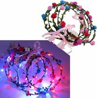Blinkende LED Tiara Stirnbänder Boho Blumen Haarband Hawaii lei Headwear Glowing Head Kränze für Mädchen Frauen Party Decor