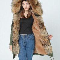 Wholesale Real Leopard Fur Coats - OFTBUY 2017 winter jacket women new long parka real fur coat big raccoon fur collar hooded parkas thick outerwear stree style
