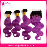 Wholesale Weaved Hair Wholesaler - New Arrival #1B Purple Hair Weaves With Lace Closure Free Middle Three part 4pcs lot Brazilian Ombre Hair Closure With Hair Bundles