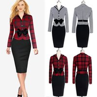 Wholesale Womens Elegant Faux Twinset Belted Tartan Bow Patchwork Wear to Work Business Pencil Sheath Bodycon Dress WQ0827