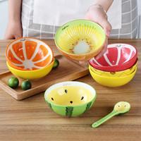 mano de arroz al por mayor-Cuenco de cerámica hecho a mano Cuenco de cerámica pintado a mano de la sopa del cuenco del arroz de la sandía de la fruta