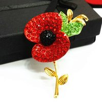 Wholesale Wholesale Enamel Brooch - Luxury Bright Austrian Red Crystals UK Fashion Poppy Brooch Popular Enamelled Elegant Poppy Flower Broach Pin For UK Memorial Day
