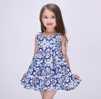 Wholesale China Tutu - 2016 Spring Summer China Blue Art Dresses Girls Princess Dress Satin Kids Tutu Dress Ball Dress 7pcs lot K6919