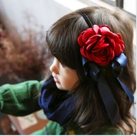 Wholesale Red Big Flower Hair Bands - 2016 15PCS Vintage 3D Big Flower Bowknot Girls Hair Clasp Cute Lovely Hair Bands Children Hair Accessories K6629