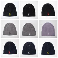 Wholesale Wholesale Cuffed Beanies - Men Signature Beanie Women Winter Warm Knitted Hat Outdoor Sports Cuff Hat Beanie 10 Colors LJJO3477