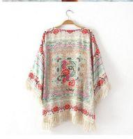 Wholesale Chiffon Floral Short Coat - Wholesale-Vintage Retro Boho Hippie Tassels Chiffon Top Kimono Coat Cape Jacket Cardigan